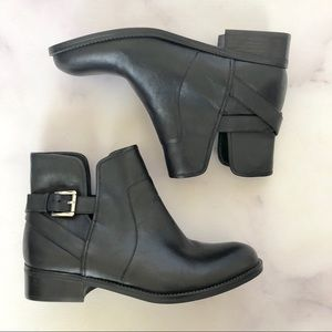 Crown Vintage | NEW Black Leather Buckle Booties